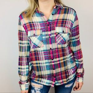 NWT Entro Urbanoutfitters Sequin Plaid Button Down